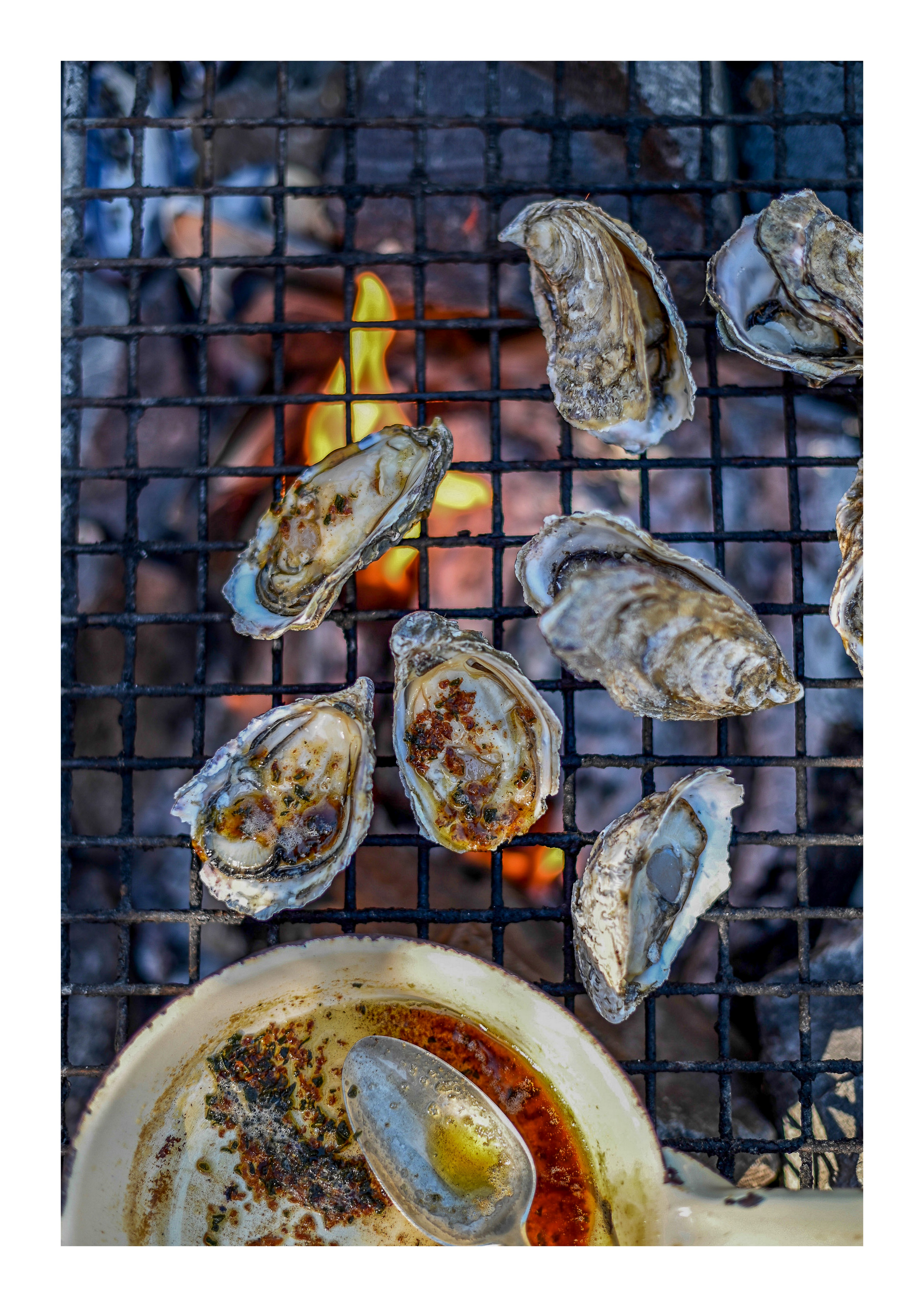 FIRE-ROASTED OYSTERS WITH BOKKOM BUTTER