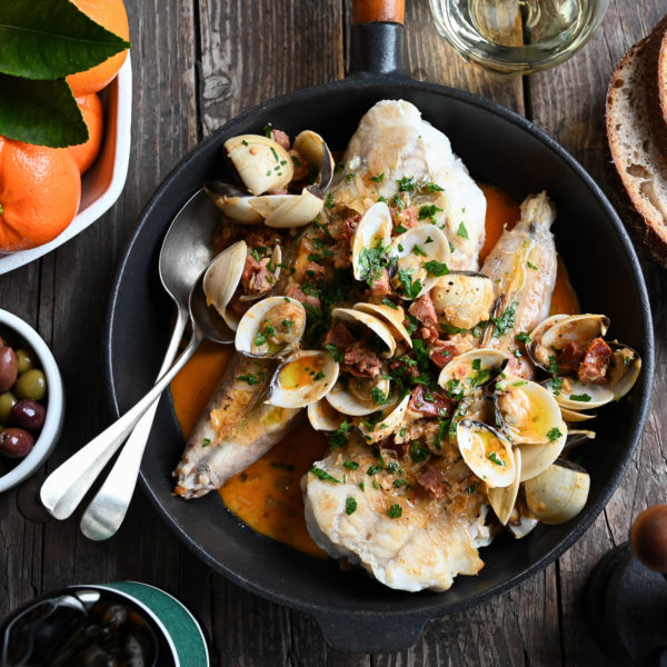 MONKFISH WITH CLEMENGOLD, CHORIZO AND CLAMS