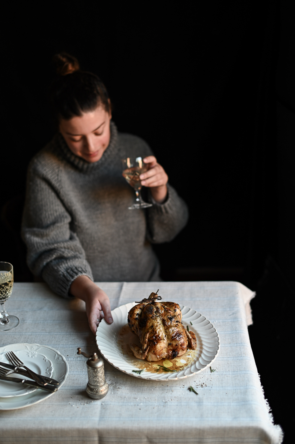 GARLIC ANCHOVY BUTTER-ROASTED CHICKEN
